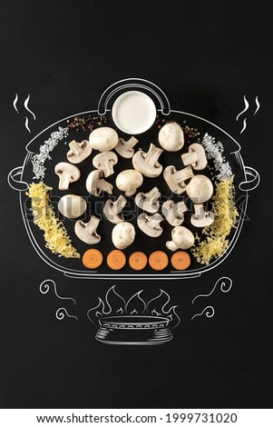 Mushrooms, rice, onion, carrot and pepper. Cooking pot on fire. Set of ingredients for cream mushrooms soup. Artwork. Drawn in chalk. Concept of healthy eating, food and cooking.