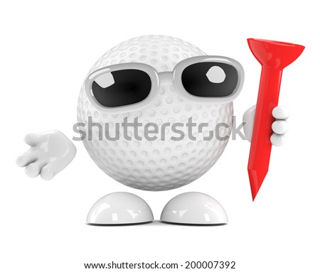3d render of a golf ball character holding a tee