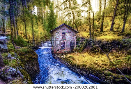 An abandoned house by a forest stream. Witch house in autumn mossy foresdt at river stream. Forest house at river stream. Abandoned house at forest river stream Royalty-Free Stock Photo #2000202881