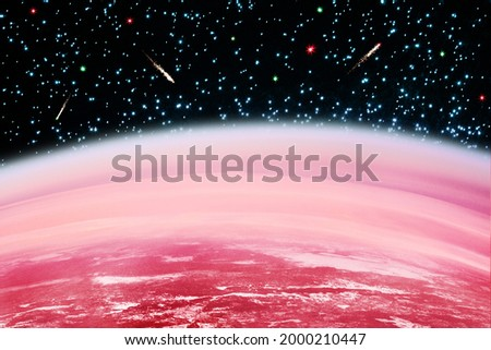 Cosmos landscape, red planet surface, dark black sky, bright shiny stars, flying comets, Mars horizon, celestial body, abstract alien galaxy, cosmic view, fantasy outer space illustration, universe Royalty-Free Stock Photo #2000210447