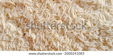 Beautiful fresh rice grains, seeds, kernels. Close up picture of dry raw rice. Pile of white rice before cooking. Healthy food. Close-up picture. Asian Pakistani rice product. Food concept background