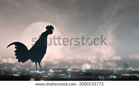 Double Exposure Image,Rooster with city and the moon, Silhouettes rooster crows in the morning.Elements of moon this image furnished by NASA.