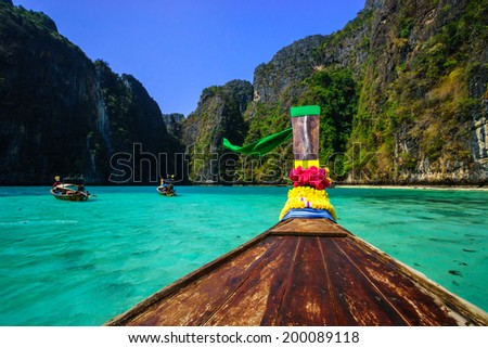 Traditional longtail boat in pile bay on Koh Phi Phi Leh Island, Krabi, Southern of Thailand #200089118