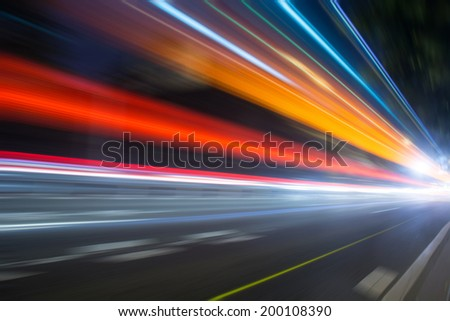 Speed motion on road at night