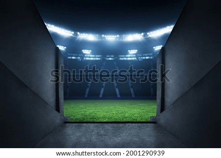Professional soccer field stadium entrance Royalty-Free Stock Photo #2001290939