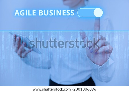 Text sign showing Agile Business. Concept meaning capability of adjusting quickly to the market s is trend Inspirational business technology concept with copy space