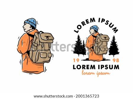 mountaineer man wearing orange jacket illustration drawing design
