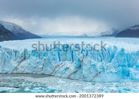 The Perito Moreno Glacier is a glacier located in the Los Glaciares National Park in southwest Santa Cruz Province, Argentina, one of the most important tourist attractions in Patagonia Royalty-Free Stock Photo #2001372389