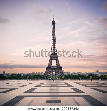 Trocadero and Eiffel Tower at sunshine. Paris, France.