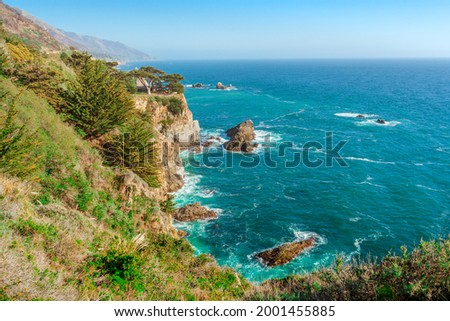 Spectacular panoramic landscape of the west coast of California with views of the Pacific Ocean and the cliffs . Coast along the Pacific Coast Highway Royalty-Free Stock Photo #2001455885