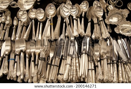 Antique aged and tarnished silver cutlery  #200146271