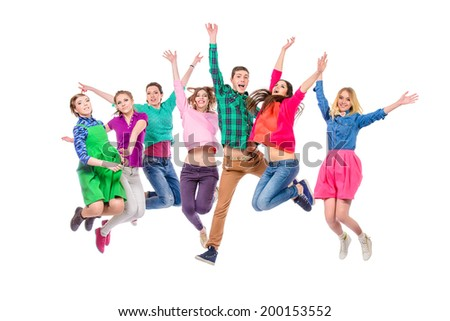 Large group of cheerful young people jumping for joy. Isolated over white. #200153552