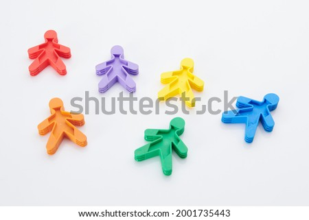 Rainbow, colorfull people concept. High resolution photo for graphic design. Different race, different skin colour concept, plastic people statuettes