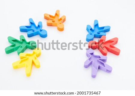 Rainbow, colourfull people concept. High resolution photo for graphic design. Different race, different skin colour concept, plastic people statuettes.