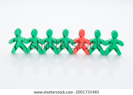 Rainbow, colourfull people concept. High resolution photo for graphic design. Different race, different skin colour concept, plastic people statuettes. All people together equality.