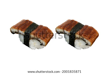 Eel or Unagi Sushi, isolated on white background. For any artwork design in Japanese Food Concept or for Sushi Menu Design