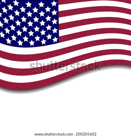 Colorful vector illustration of independence day USA with national flag and spase for text, holiday card by July 4 #200205602