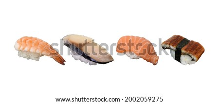 Shrimp Sushi, Saba Sushi, Salmon Sushi and Eel or Unagi Sushi, isolated on white background. Usable for any Japanese Restaurant as Picture Menu and for Japanese food concept.