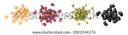 Collection of mix bean (soy beans, Adzuki bean, green mung, black bean) isolated on white background. Top view. Flat lay. Royalty-Free Stock Photo #2002244276