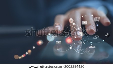 Digital marketing media, E-commerce, IoT Internet of Things, digital banking, online shopping concept. Woman using mobile phone with icons, and Pay Per Click (PPC) dashboard, business and technology Royalty-Free Stock Photo #2002284620