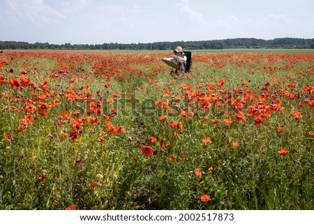 Mature woman artist paints a picture on a poppy field. Scenic view.