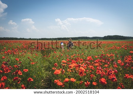 Mature woman artist paints a picture on a poppy field. Overall plan.