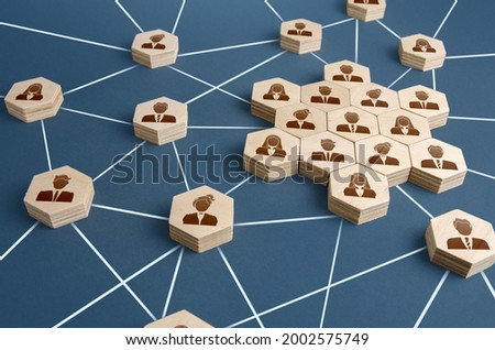 A network of connected people with a large group of employees. Organized communication system between company workers. Decentralized networking communication. Partnerships, business relations Royalty-Free Stock Photo #2002575749