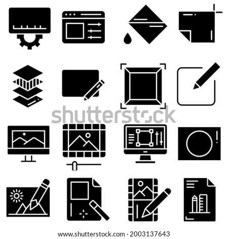 Image editing icon vector set. online editor illustration sign collection. program interface symbol or logo.