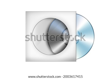 Compact disk with cover illustration (cd, case, dvd) isolated on white background. with clipping path.