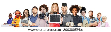 Promote training with people from many different professions Royalty-Free Stock Photo #2003805986