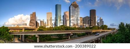 Panorama of Downtown Houston from Buffalo Bayou Park