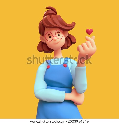 Portrait of smiling positive casual brunette girl in glasses wearing blue apron, white t-shirt makes korean love sign, finger heart gesture. I Love You. Minimal art style. 3d render on yellow backdrop