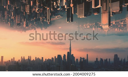 AERIAL. Abstract futuristic concept video of two huge city opposite each other in the sky and epic sunset. Royalty-Free Stock Photo #2004009275