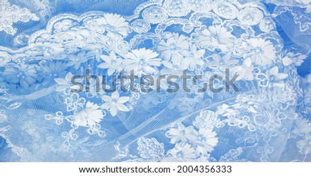 The lace is light blue. Texture. background. template. abstract background with pale blue rod, old lace and sapphire lines. can be used for postcard, poster, texture or wallpaper Royalty-Free Stock Photo #2004356333