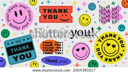 Thank You Abstract Hipster Cool Trendy Background With Retro Stickers Vector Design. Royalty-Free Stock Photo #2004385817