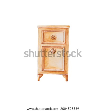 vintage bedside table watercolor illustration, furniture and drawn clipart good for interior design and decoration