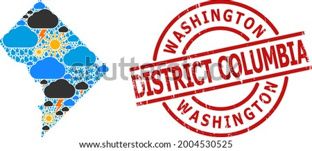 Climate collage map of District Columbia, and scratched red round stamp. Geographic vector collage map of District Columbia is composed with scattered rain, cloud, sun, thunderstorm elements. Royalty-Free Stock Photo #2004530525