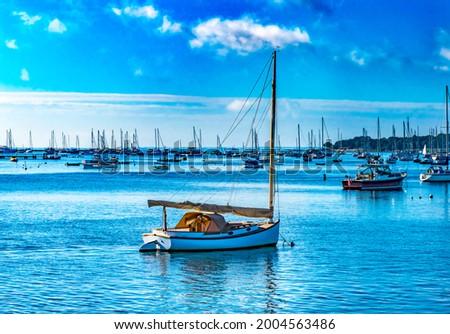 Sailboats, Padanaram Harbor, Buzzards Bay, Dartmouth, Massachusetts Royalty-Free Stock Photo #2004563486