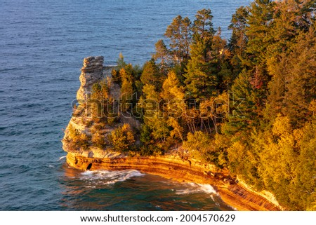 Days last light on Miners Castle at Pictured Rocks National Lakeshore, Michigan, USA