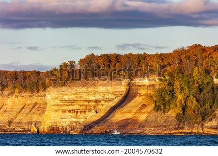 Lake Superior Waves coming in at Miners Beach in autumn at Pictured Rocks National Lakeshore, Michigan, USA