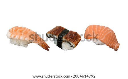 Shrimp Sushi, Eel or Unagi Sush and Salmon Sushi, isolated on white background. Usable for any Japanese Restaurant as Picture Menu and for Japanese food concept.