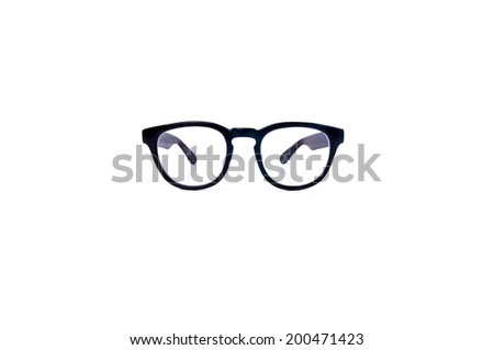 Clear Eyeglasses Glasses with Black Frame Fashion Vintage Style Isolated on white background. #200471423