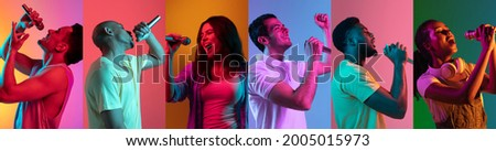 Portraits of different models on multicolored background in neon light. Flyer, collage made of people with microphone. Concept of ad, emotions, sales, advertising. Musicians, singers, performers. Royalty-Free Stock Photo #2005015973