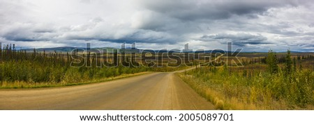 USA, Alaska. Panoramic view of the Dalton Highway to Prudhoe Bay on the North Slope. Royalty-Free Stock Photo #2005089701