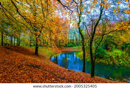 A river in the autumn forest. Forest river in autumn fall. Autumn forest river landscape. River in autumn forest Royalty-Free Stock Photo #2005325405