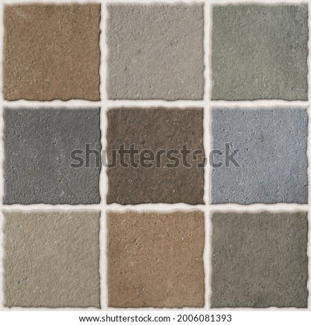 rustic multi grey tone floor tile wall tiles nine square punch matt pavement paver footpath garden out door heavy duty vitrified parking tiles    Royalty-Free Stock Photo #2006081393