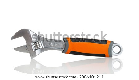 A cap wrench with a smooth resizing mechanism, an accurate gas wrench, isolated on a white background