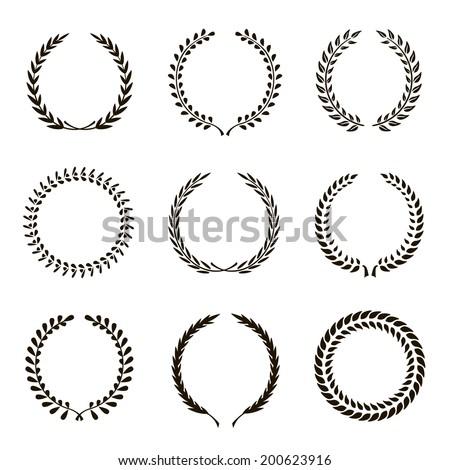 Set of black silhouette circular laurel wreath Royalty-Free Stock Photo #200623916