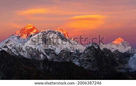 Evening sunset view of Mount Everest, Lhotse and Makalu from Renjo pass. Three passes and Mt Everest base camp trek, Khumbu valley, Solukhumbu, Sagarmatha national park, Nepal Himalayas mountains Royalty-Free Stock Photo #2006387246