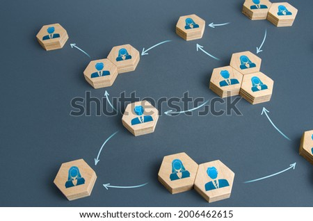 Communication of people in the business of the company. Delegation of work and responsibilities. Functioning of departments and divisions of the company. Decentralized networking. Teamwork cooperation Royalty-Free Stock Photo #2006462615